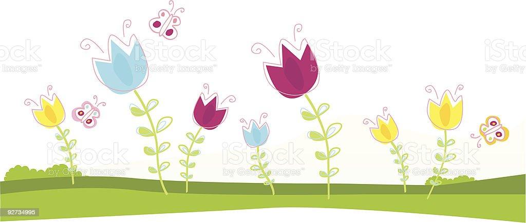 Spring vector tulips in green garden royalty-free stock vector art