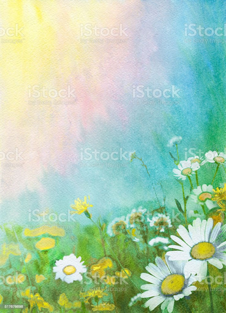 Spring watercolor background vector art illustration