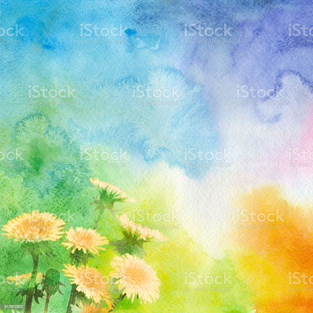 Spring watercolor background with dandelions vector art illustration