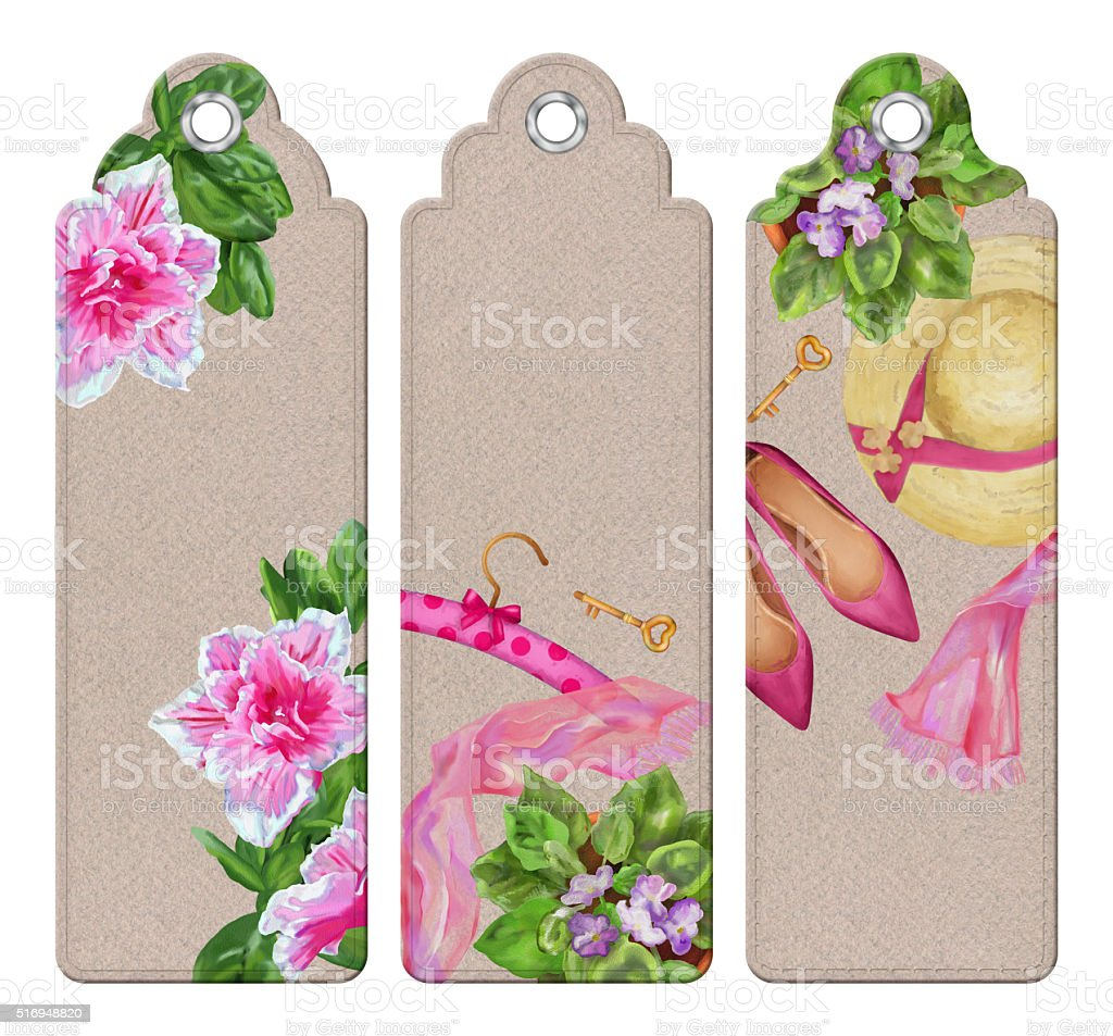 Spring Watercolor Bookmarks vector art illustration