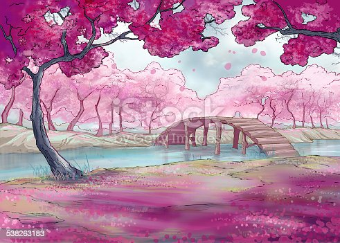 springcherry blossom japanese garden stock vector art 538263183 istock