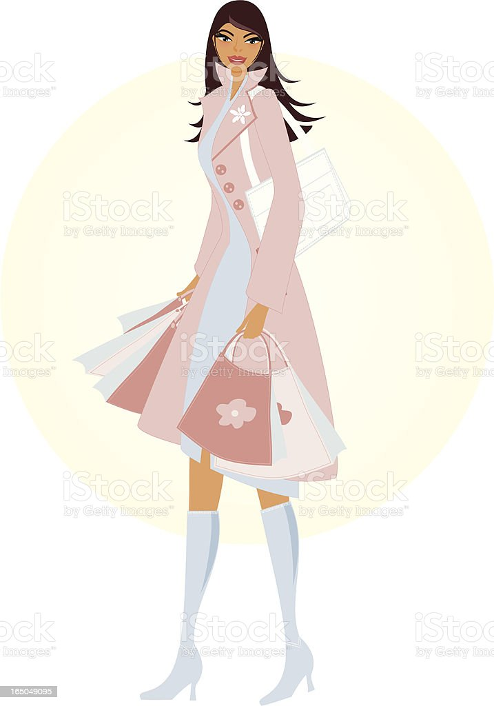 Springtime Shopper vector art illustration