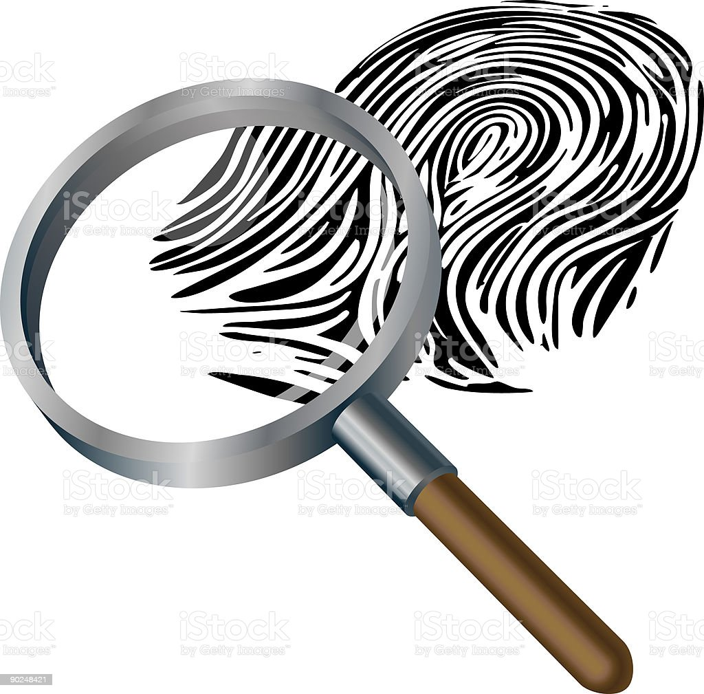Spyglass and fingerprint royalty-free stock vector art