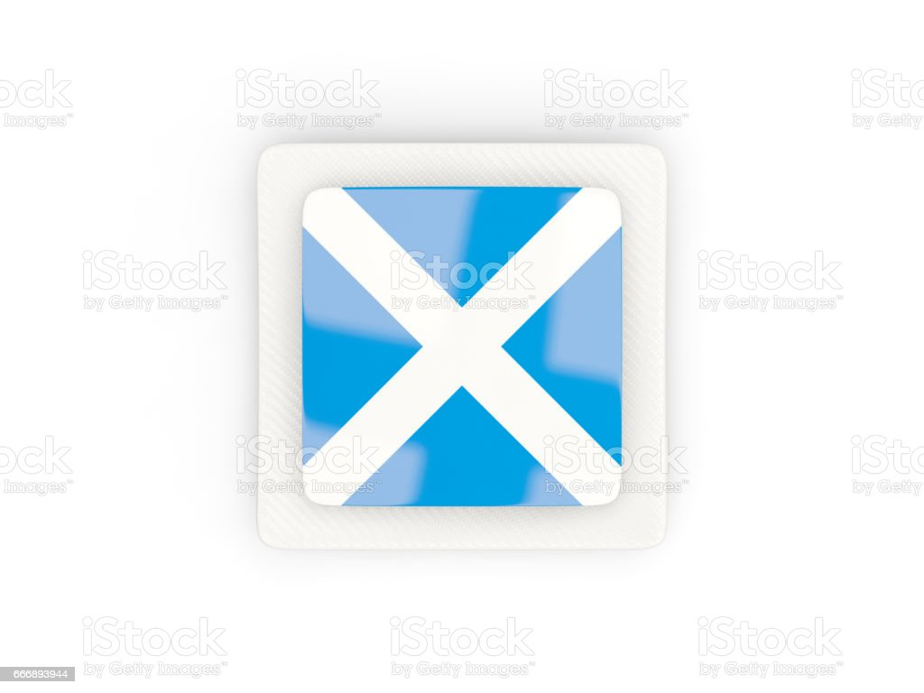 Square carbon icon with flag of scotland stock photo