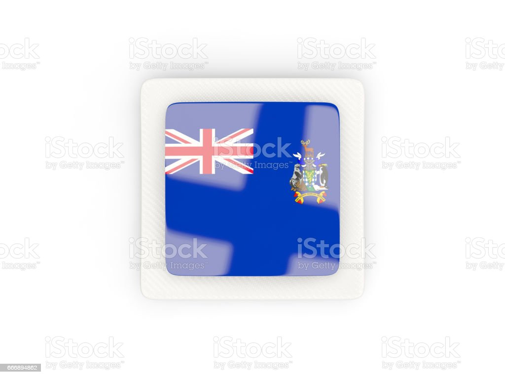 Square carbon icon with flag of south georgia and the south sandwich islands stock photo