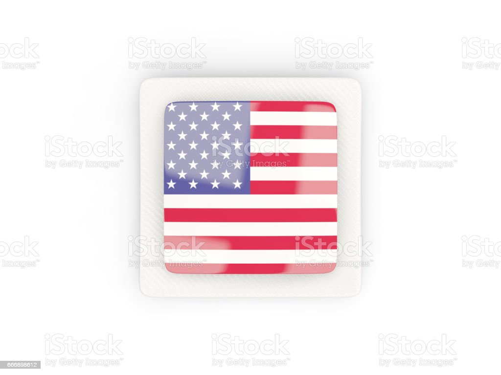 Square carbon icon with flag of united states of america stock photo