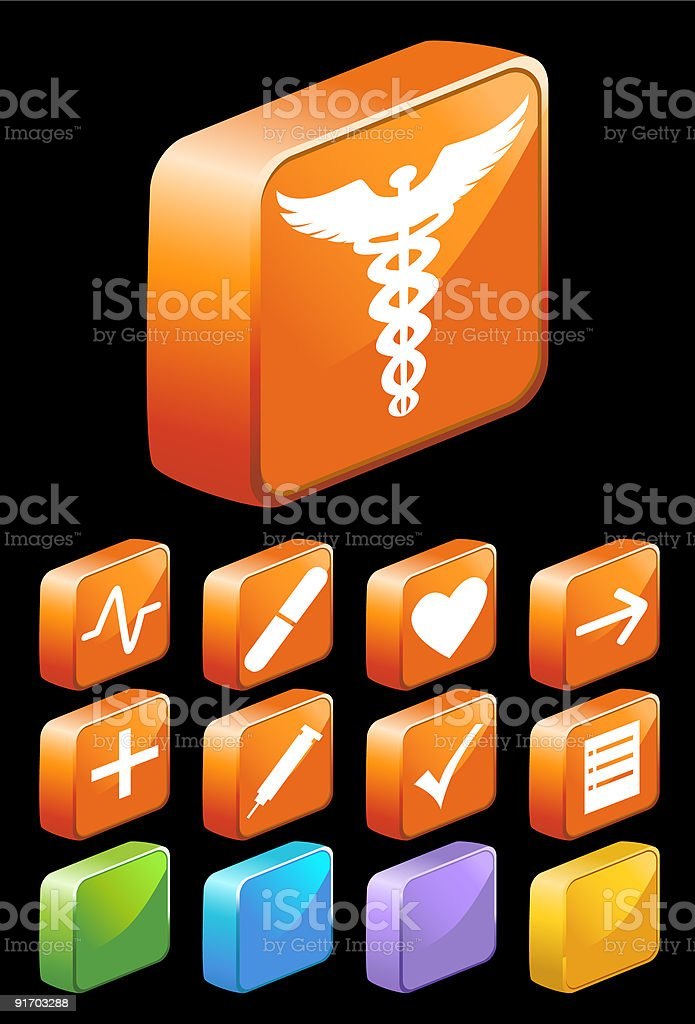 3D Square Glossy Medical Buttons royalty-free stock vector art