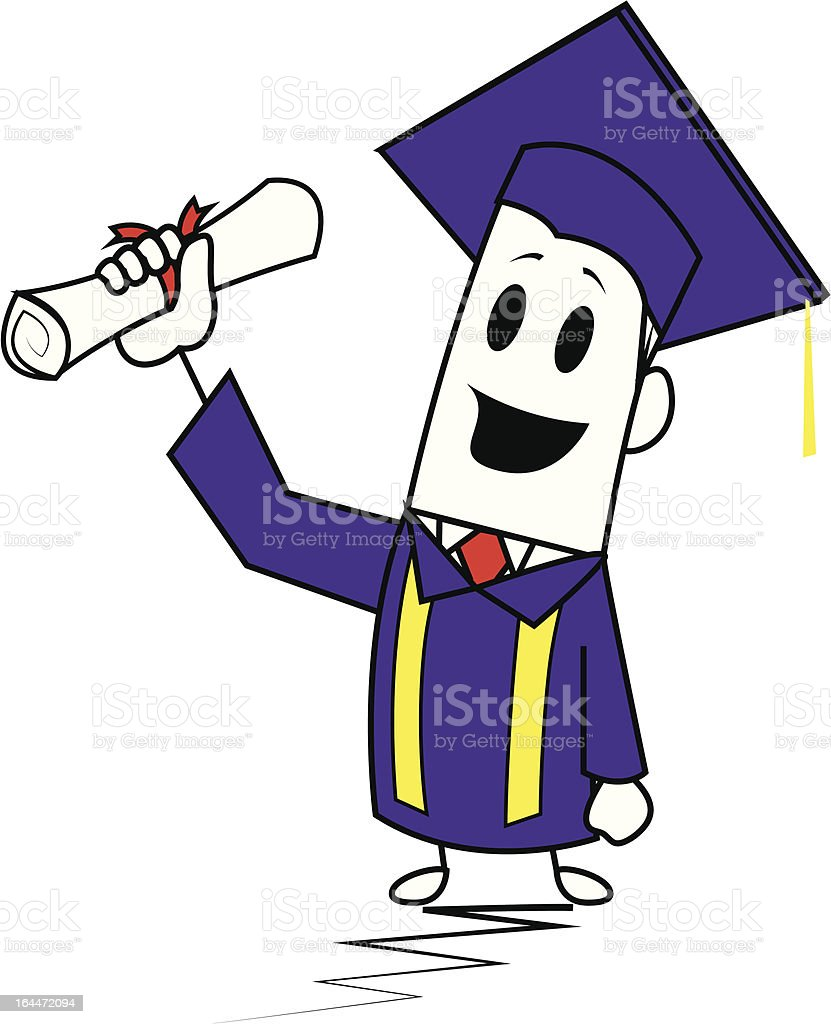 Square guy-Graduation royalty-free stock vector art