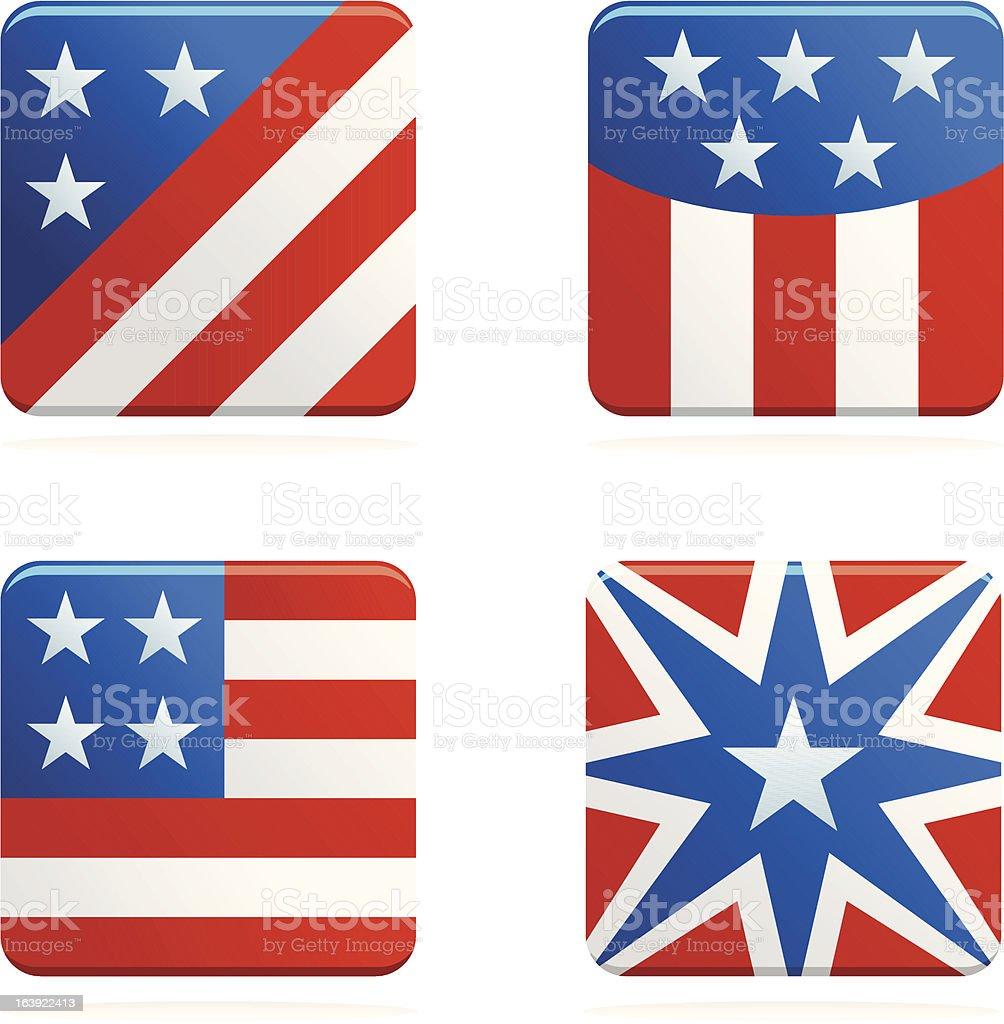 USA kwadrat ikony stockowa ilustracja wektorowa royalty-free