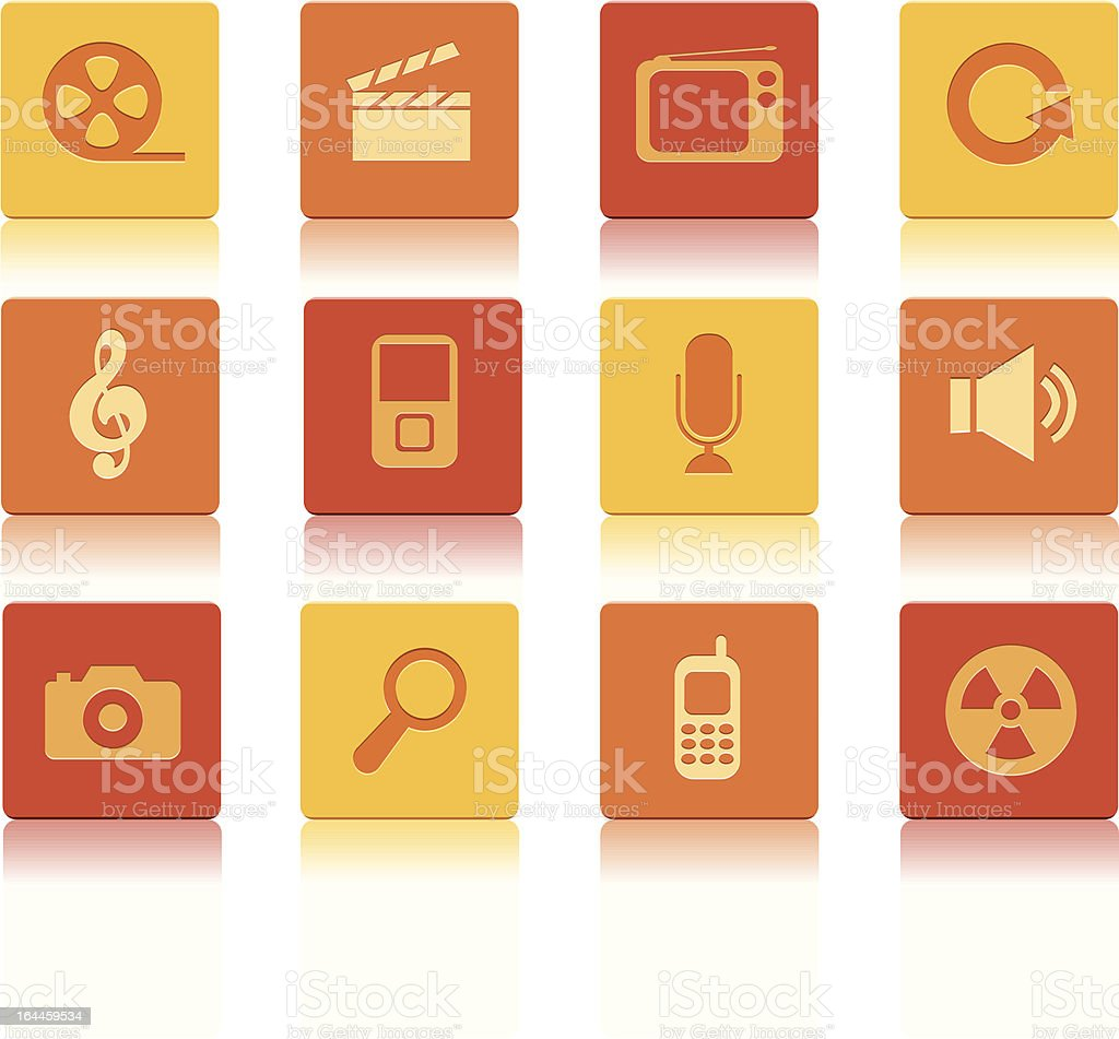 Ikony multimedialne czerwony kwadrat stockowa ilustracja wektorowa royalty-free