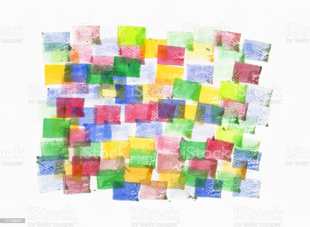 Square Pattern Watercolor Painted vector art illustration