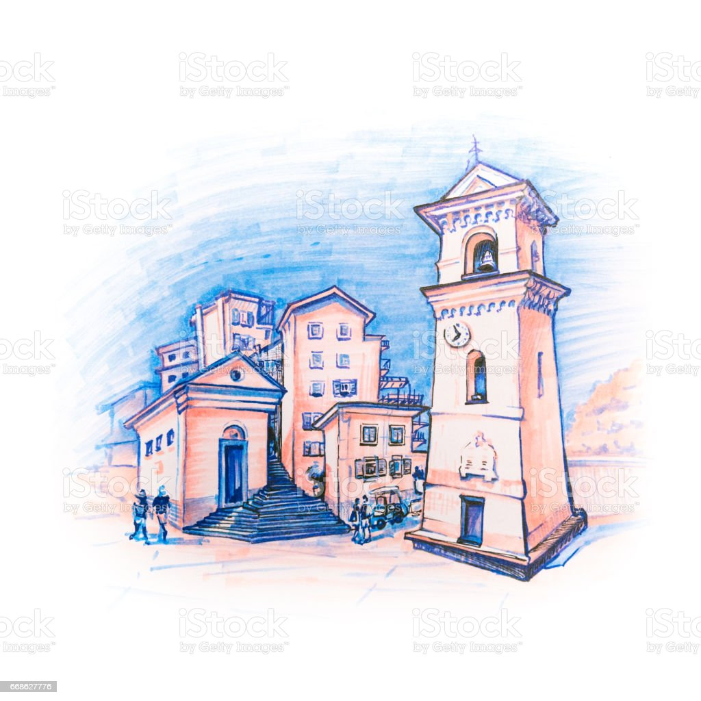 Square Pope Innocent IV in Manarola, Ligury, Italy vector art illustration