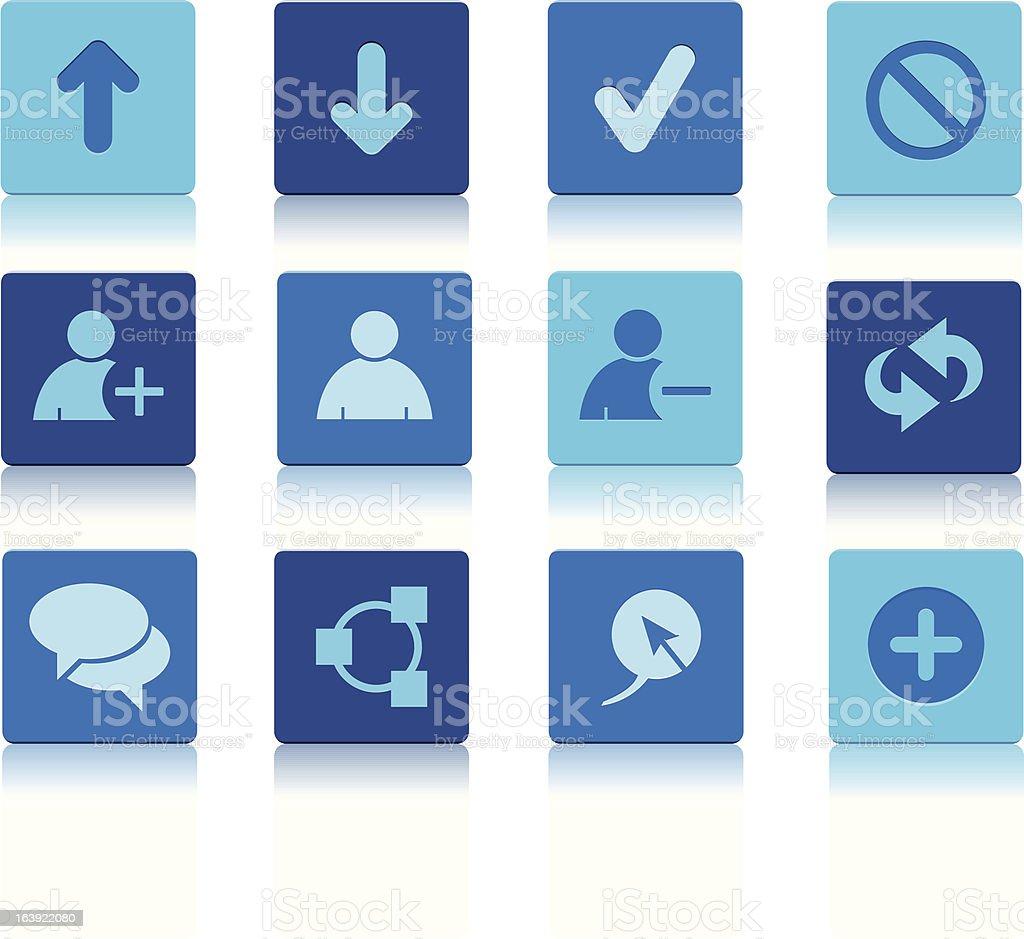 Square mediów społecznościowych ikony niebieski stockowa ilustracja wektorowa royalty-free