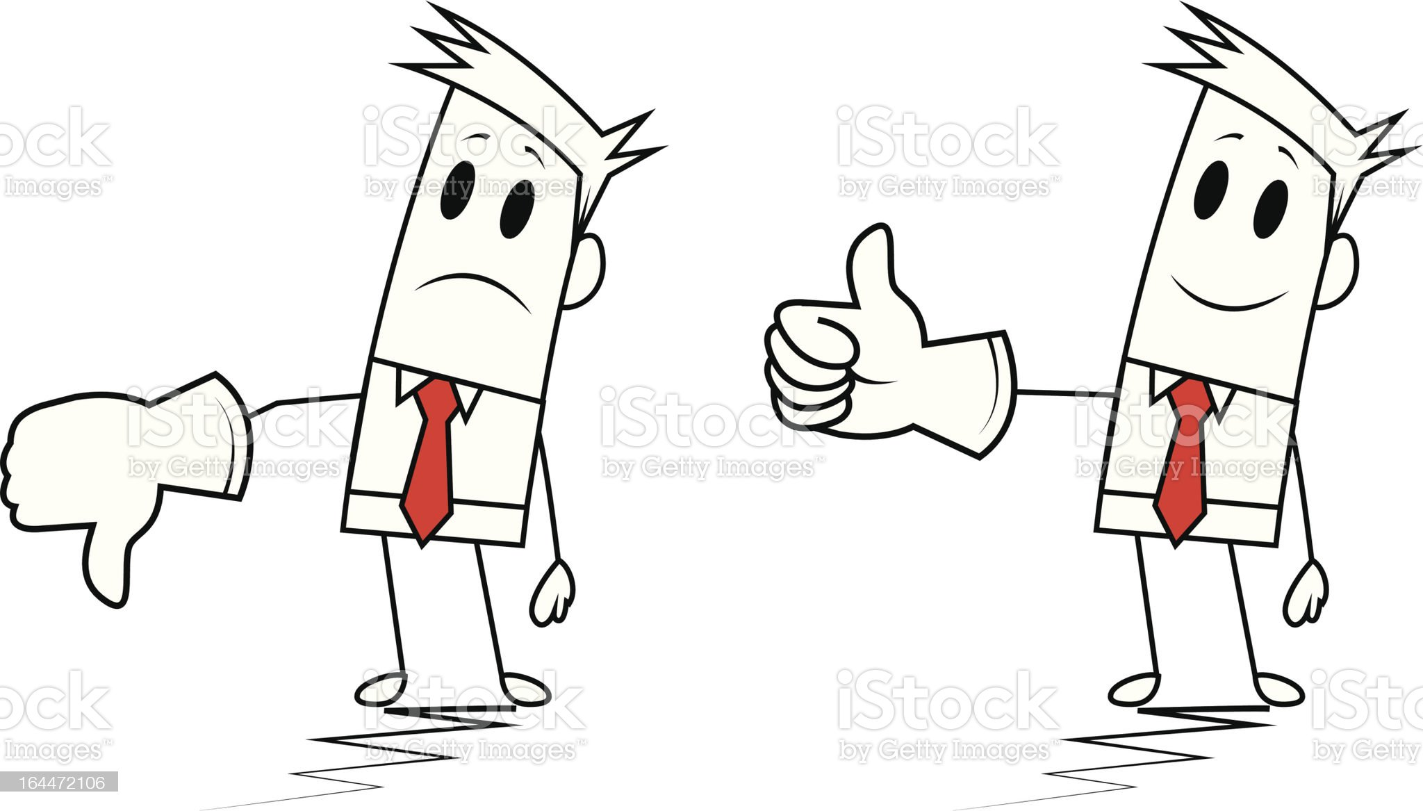 Square-guy-Thumbs up and down royalty-free stock vector art