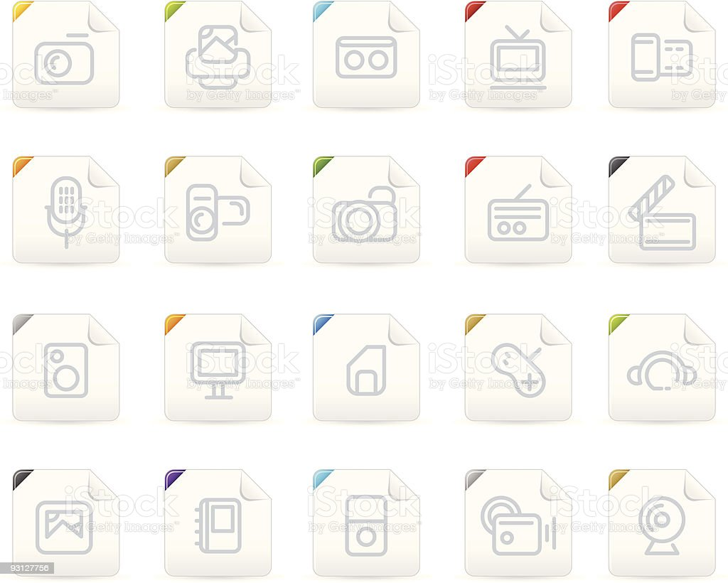 Squaro icon set: Media and Electronics royalty-free stock vector art
