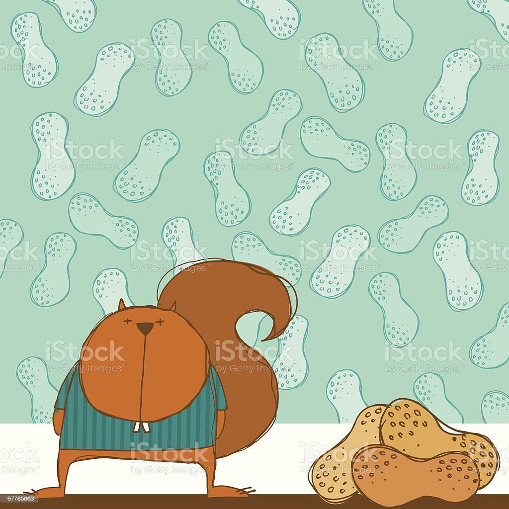 squirrel and peanuts vector art illustration
