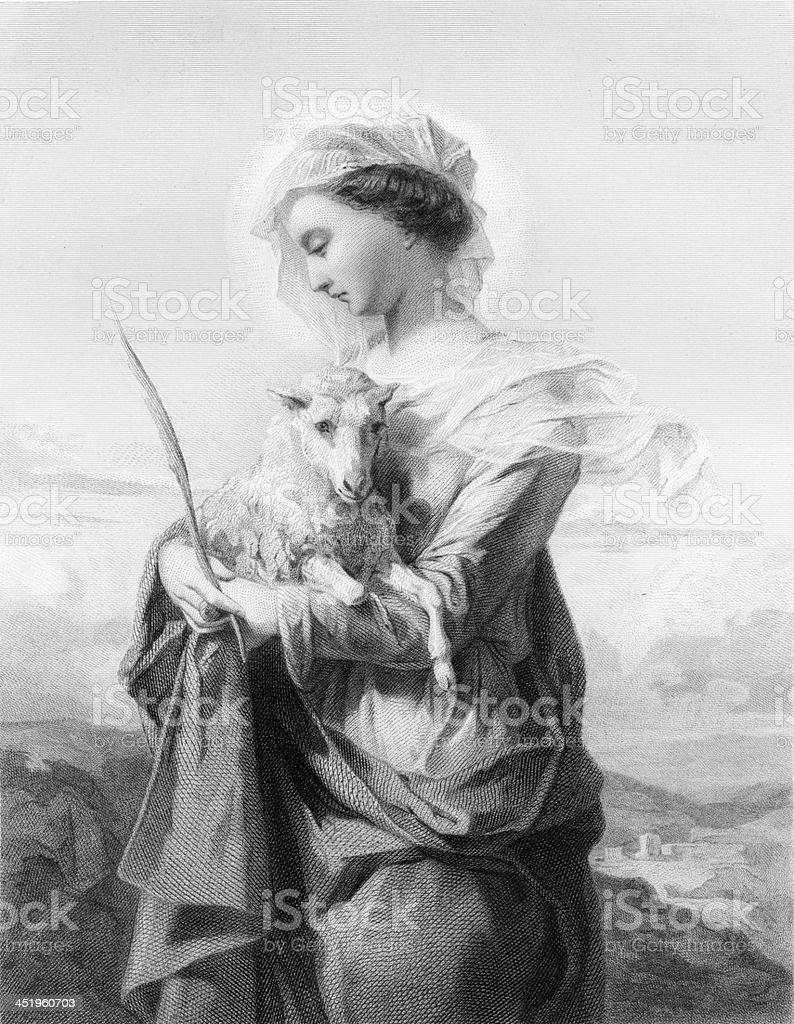 St. Agnes - Antique Engraving vector art illustration
