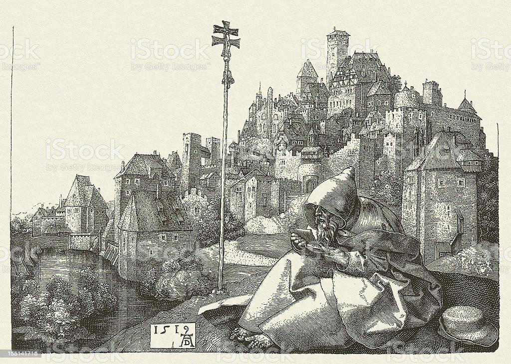 St Anthony (with Nuremberg, 1519), by Albrecht Dürer, published 1881 vector art illustration