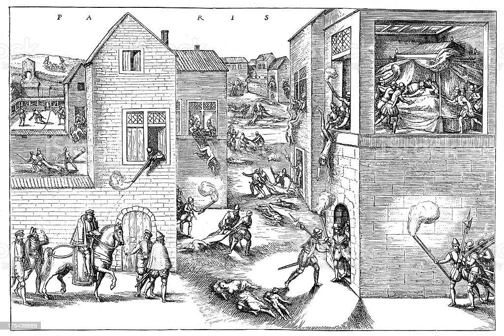 St. Bartholomew's Day massacre vector art illustration