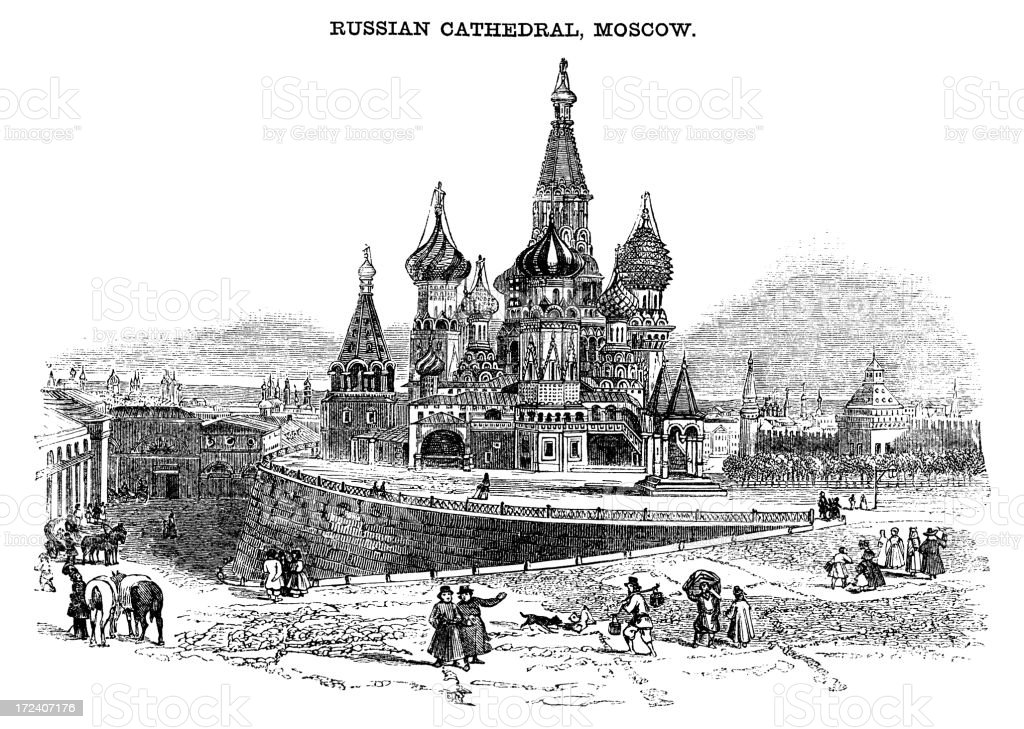 St Basil's Cathedral, Moscow (Victorian woodcut) royalty-free stock vector art