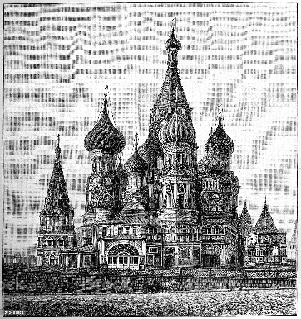 St Basil's Cathedral, Moscow vector art illustration
