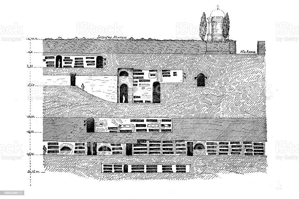 St. Callixtus catacombs in Rome vector art illustration