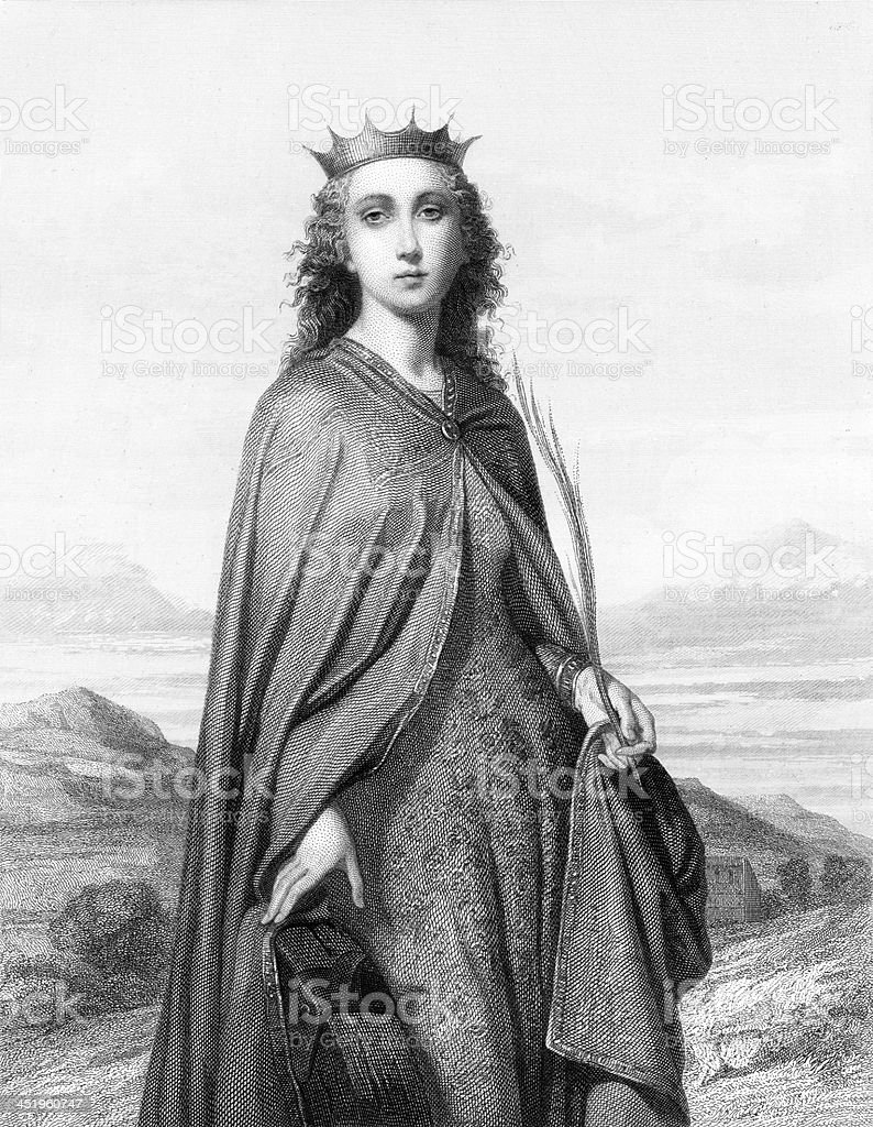 St. Catherine of Alexandria - Antique Engraving royalty-free stock vector art