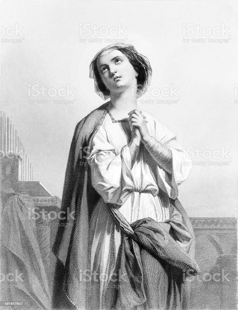 St. Cecilia - Antique Engraving royalty-free stock vector art