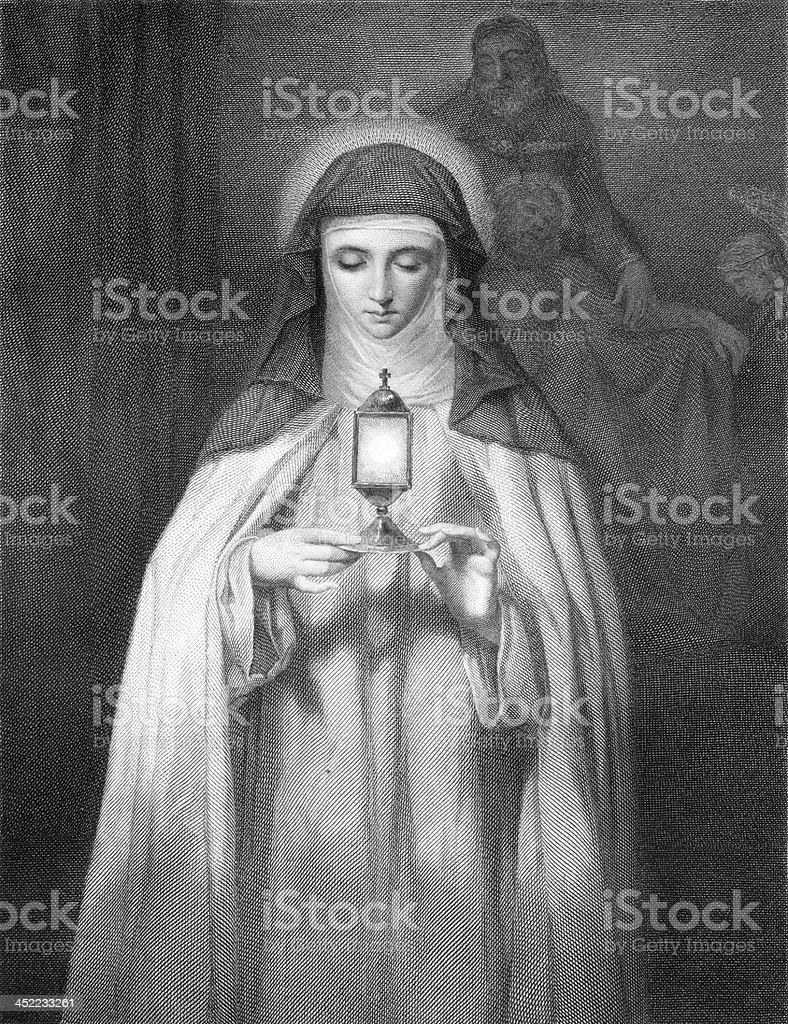 St. Ebba, Abbess of Coldingham - Antique Engraving vector art illustration