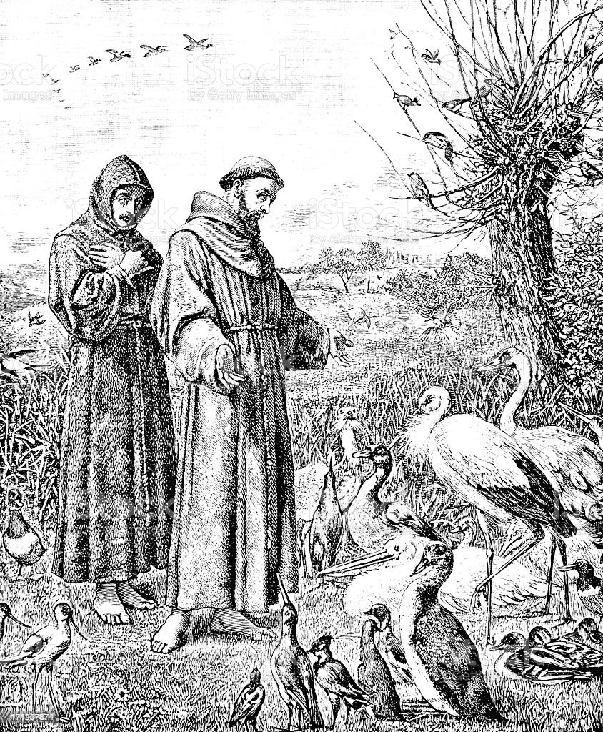 St. Francis Preaching to the Birds - Victorian Ilustration royalty-free stock vector art