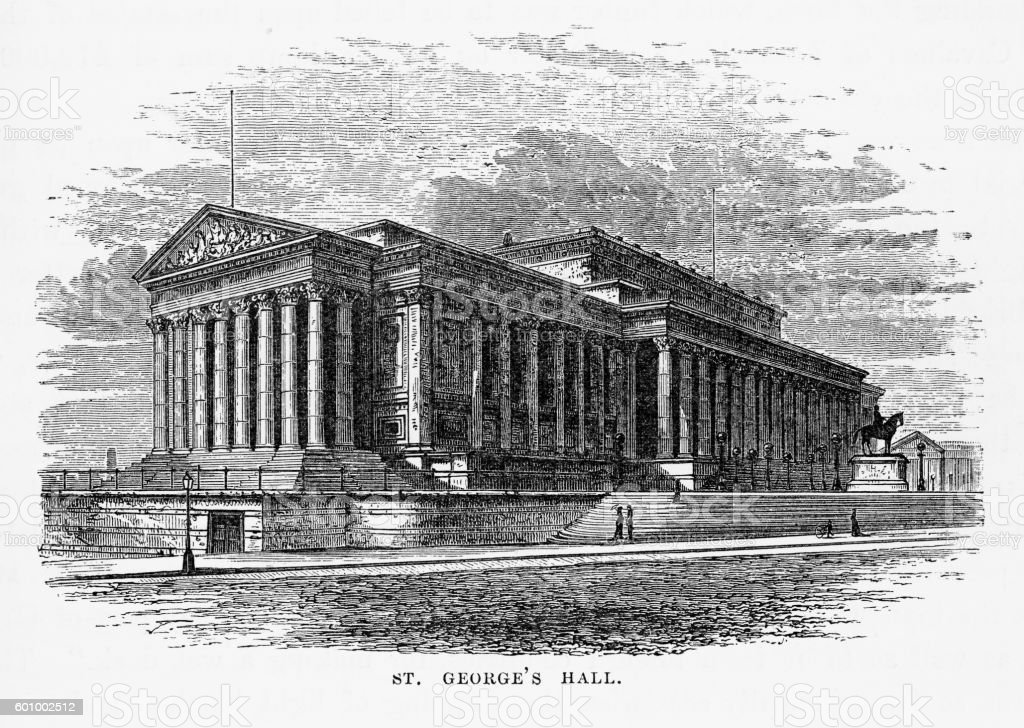 St. George's Hall Liverpool, England Victorian Engraving, 1840 vector art illustration
