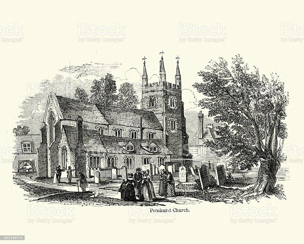 St John the Baptist Church, Penshurst vector art illustration