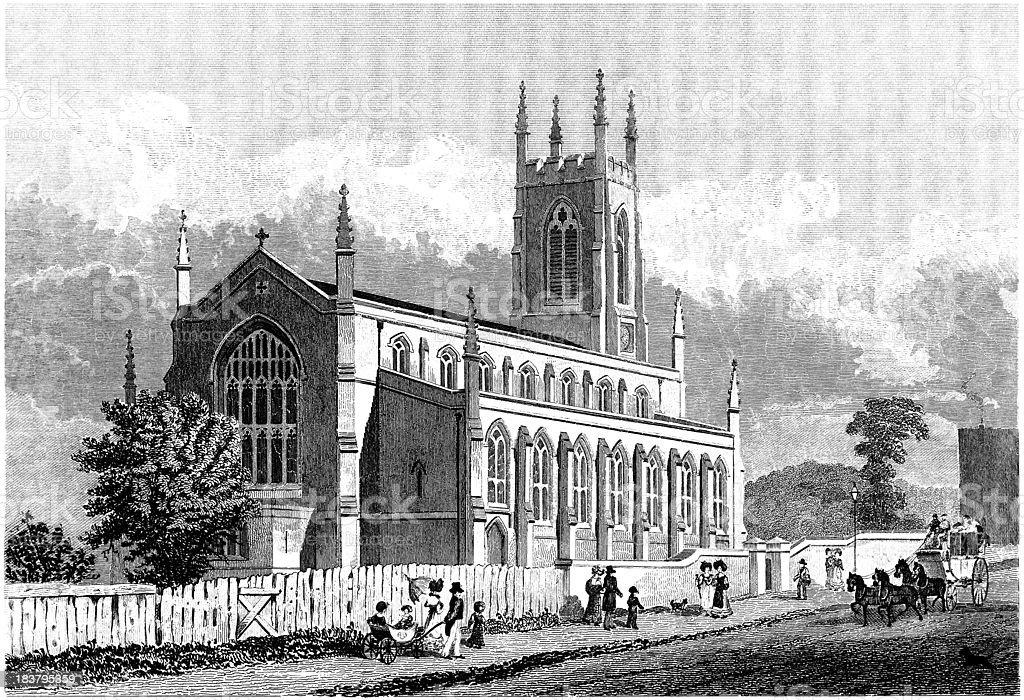 St John's Church, Holloway, London 1829 (illustration) vector art illustration