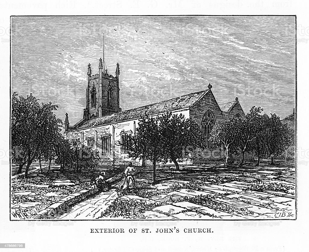 St. John's Church, Leeds, England Victorian Engraving vector art illustration