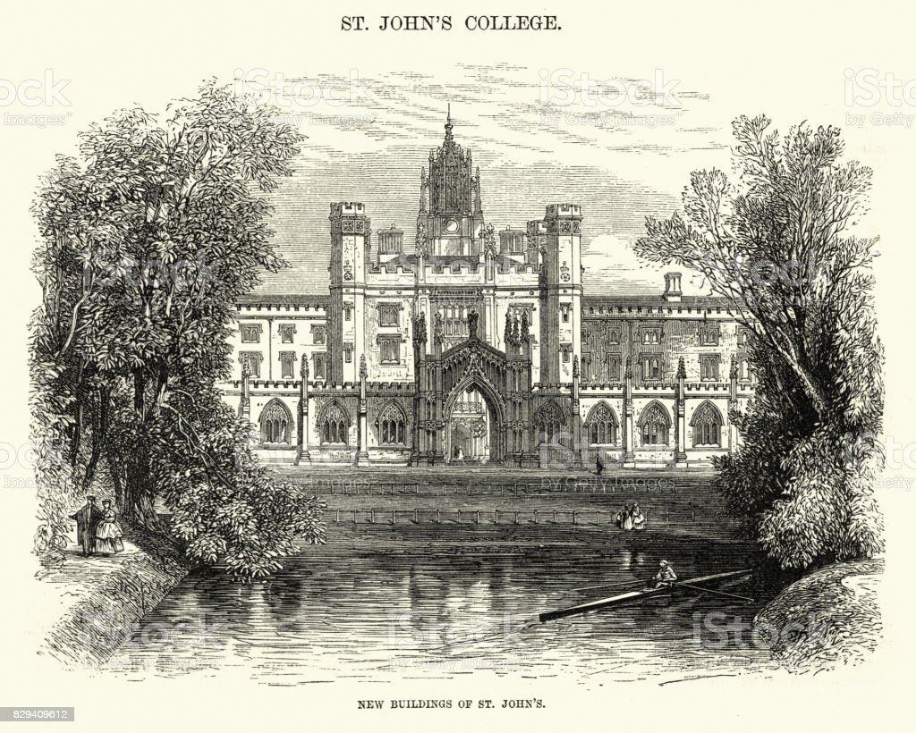 St John's College, Cambridge, 19th Century vector art illustration