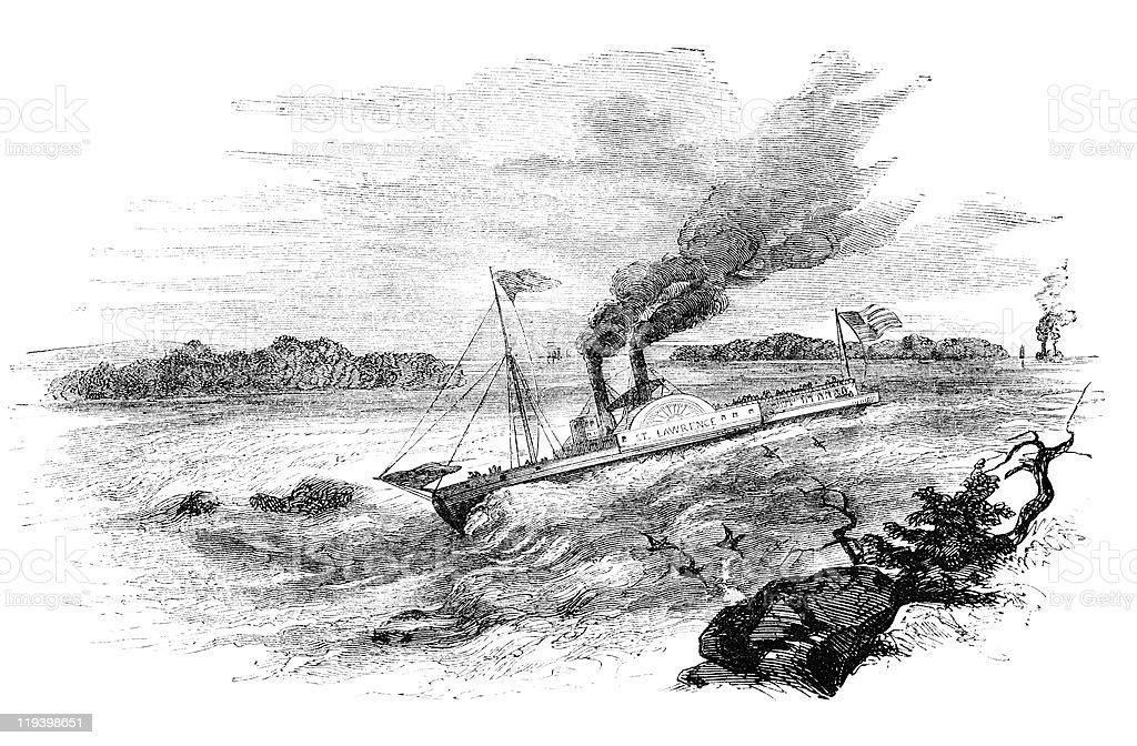 St. Lawrence rapids vector art illustration