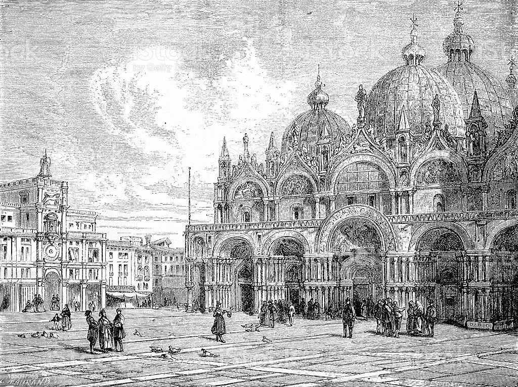 St Mark's Basilica in Venice royalty-free stock vector art