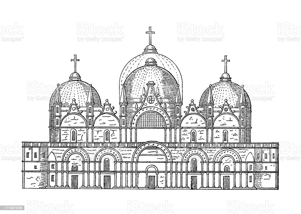 St. Mark's Basilica in Venice, Italy | Antique Architectural Illustrations royalty-free stock vector art