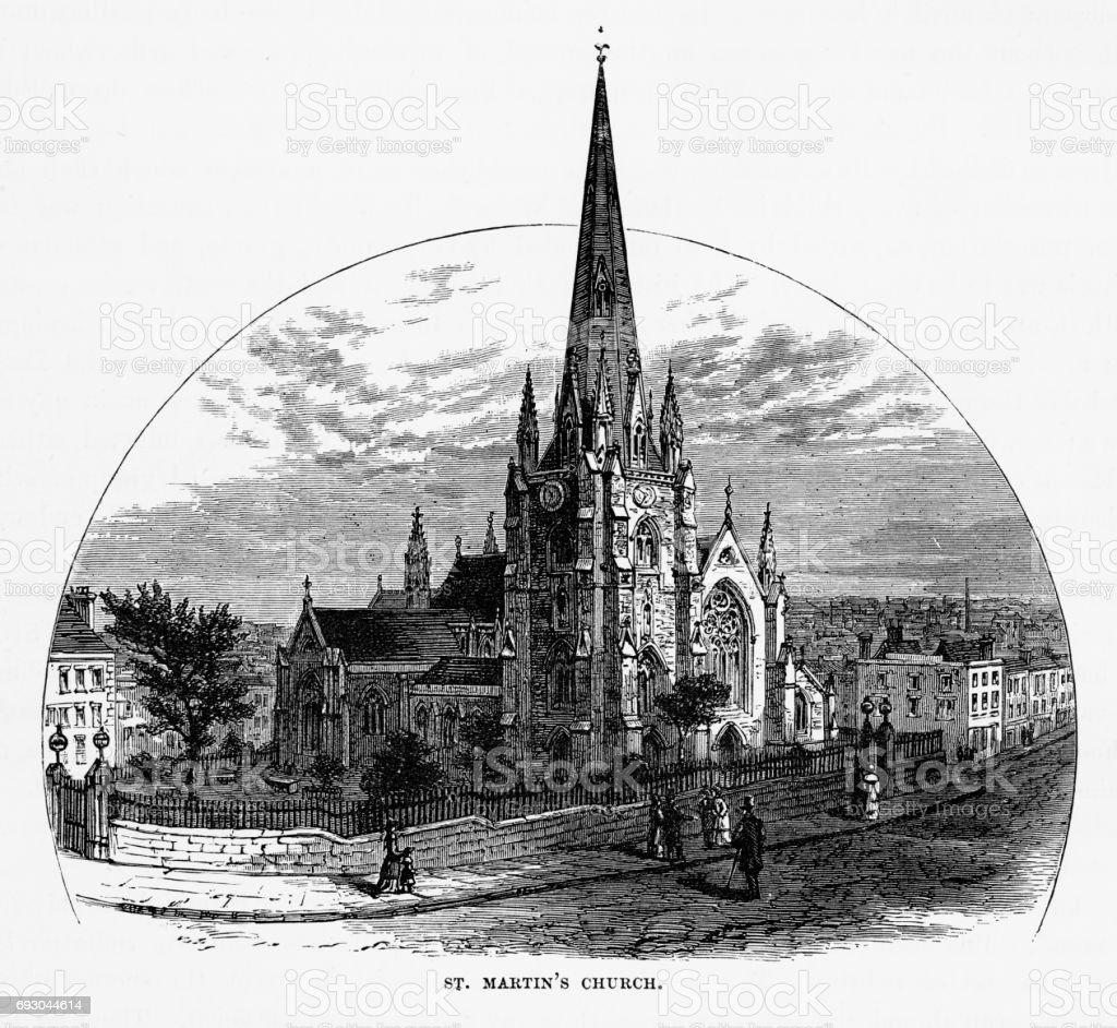 St. Marten's Church, Birmingham, Midlands, England Victorian Engraving, 1840 vector art illustration