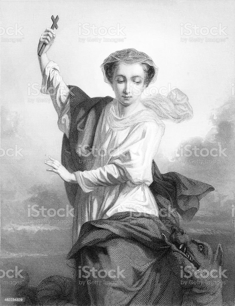 St. Martha - Antique Engraving royalty-free stock vector art