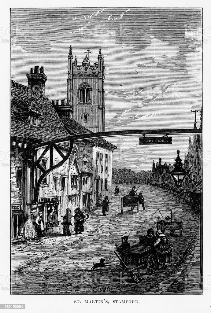 St. Martin's Church, in Stamford, England Landmarks Victorian Engraving, 1840 vector art illustration
