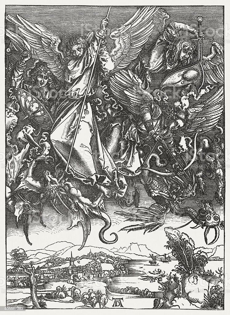 St Michael Fighting the Dragon, wood engraving, by Albrecht Durer vector art illustration