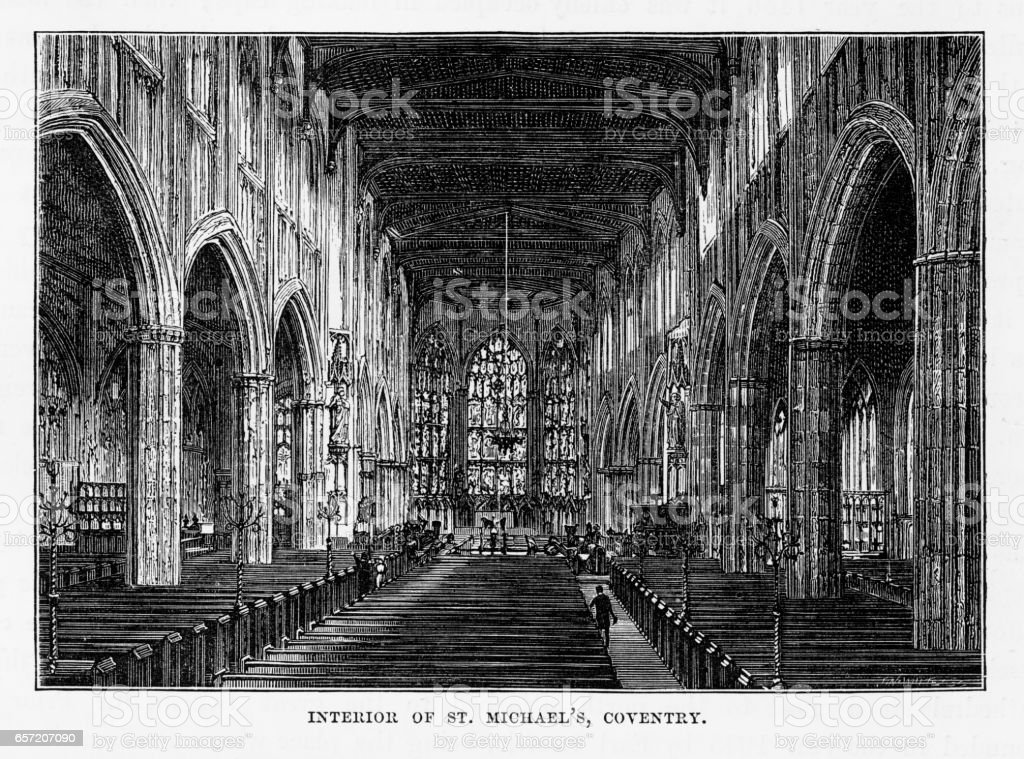 St. Michael's Coventry in Litchfield, Staffordshire, England Victorian Engraving, 1840 vector art illustration