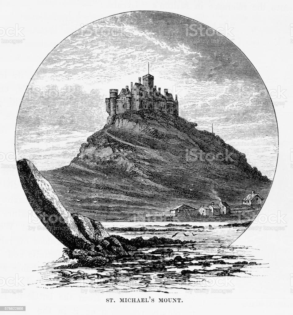 St. Michael's Mount, Cornwall, England Victorian Engraving, Circa 1840 vector art illustration