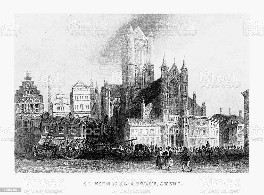 St. Nicholas' Church in Ghent, Belgium Circa 1887 vector art illustration