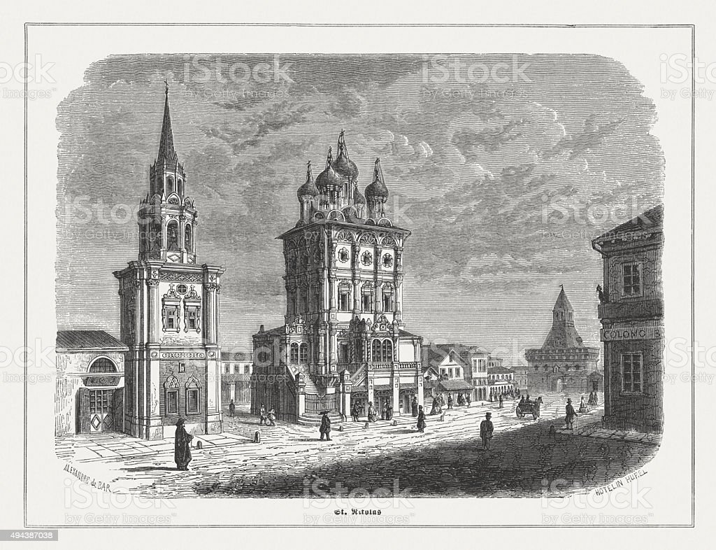 St Nicholas in Kremlin, Moscow, Russia, published in 1871 vector art illustration