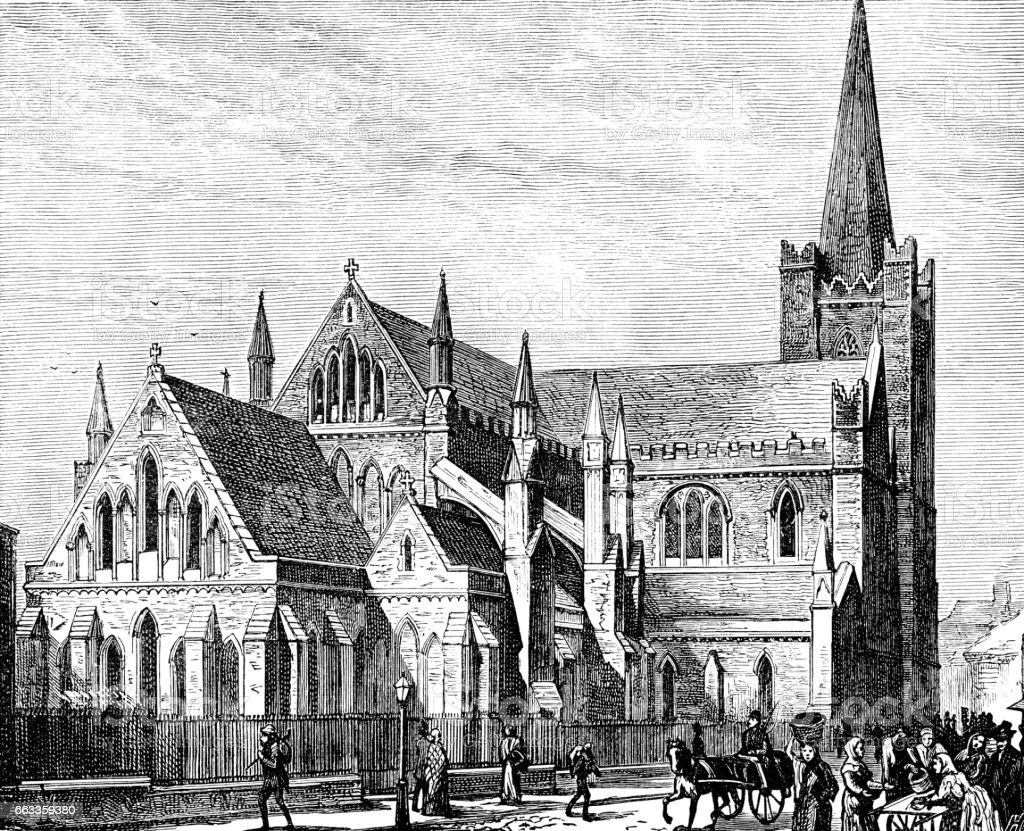 St Patrick's Cathedral, Dublin (Victorian engraving) vector art illustration