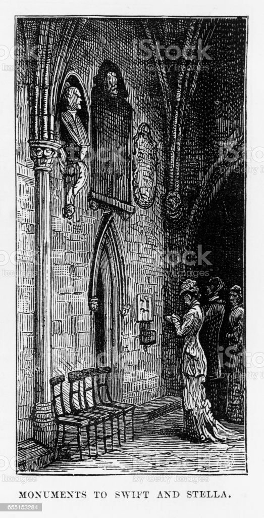 St. Patrick's Cathedral in Dublin, Ireland Victorian Engraving, 1840 vector art illustration
