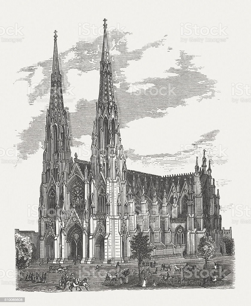 St. Patrick's Cathedral, Manhatten, New York City, published in 1880 vector art illustration