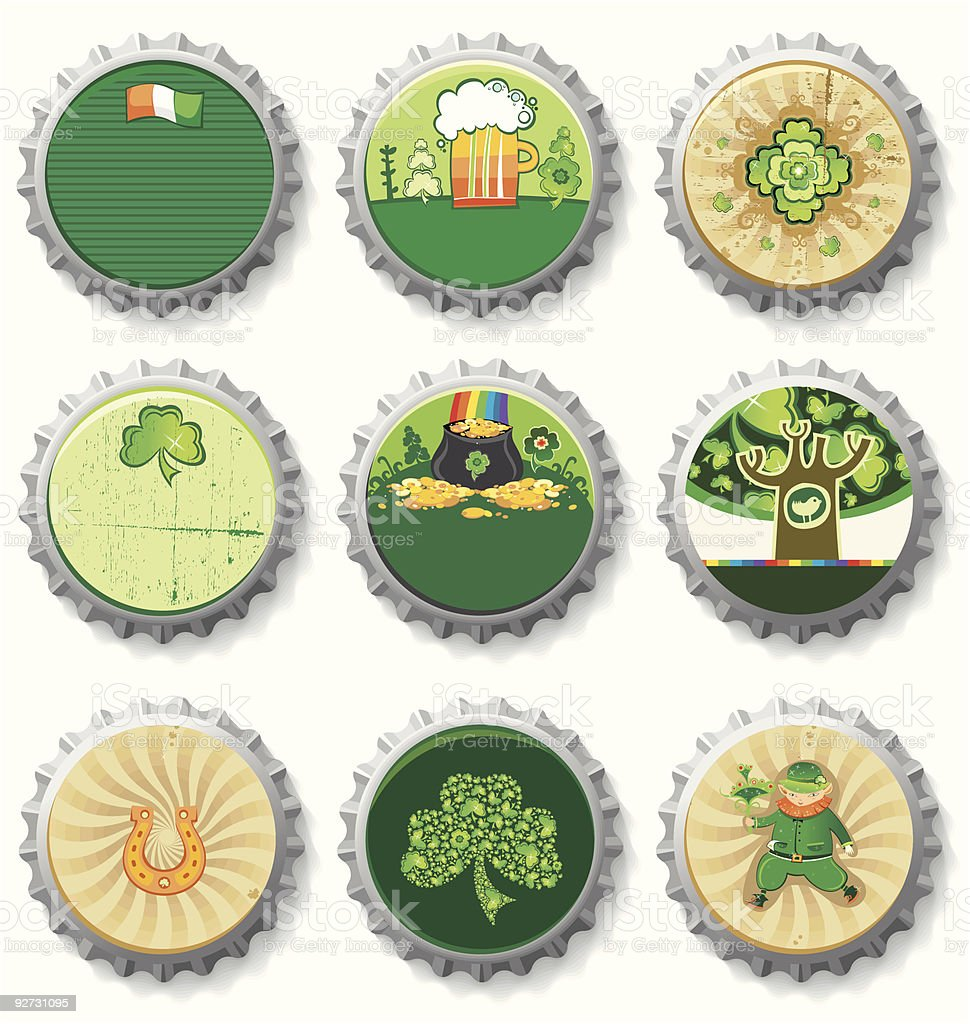 St Patrick's Day beer bottle caps set royalty-free stock vector art